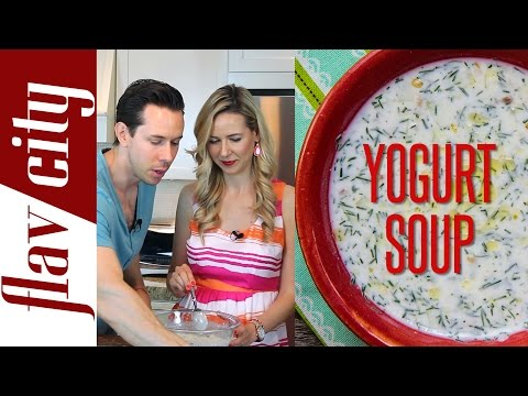 Easy Bulgarian Tutorial Recipe Video for Cold Yogurt and Cucumber Soup – Tarator by FlavCity